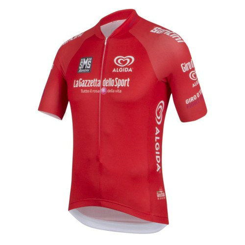 Maillot Cyclisme Manche Courte Giro D'Italie Maglia Rossa Rouge 2017