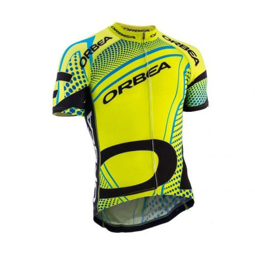 Maillot Cyclisme Manche Courte Orbea fluo Jaune With Bleu Dot 2016