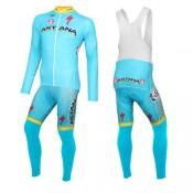 2016 Equipe Astana Tenue Maillot Cyclisme Longue + Collant à Bretelles Promo prix