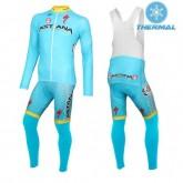 2016 Equipe Astana Thermal Cycling Tenue Maillot Cyclisme Longue + Collant à Bretelles Pas Cher
