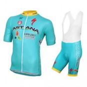2017 Astana Equipe Pro Tenue Maillot Cyclisme Courte + Cuissard à Bretelles au Meilleur Prix
