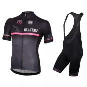 2017 Giro D'Italie Noir-Rose Tenue Maillot Cyclisme Courte + Cuissard à Bretelles Rabais