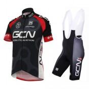 2017 Nouvelle Equipement 2017 Global Cycling Network GCN TDF Edition Noir et Rouge Tenue Maillot Cyclisme Courte + Cuissard à Bretelles