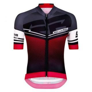 2017 Nouvelle Maillot Cyclisme Manche Courte Santini Interactive 3.0 Noir-Rouge 2017