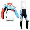 Achat Nouveau Cube Tenue Maillot Cyclisme Longue + Collant à Bretelles Blanc