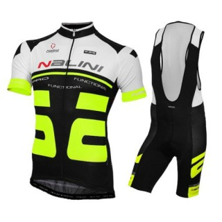 Achat Nouveau Equipement 2016 Tenue Maillot Cyclisme Courte + Cuissard à Bretelles Nalini Bao Blanc-Fluo-Noir