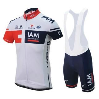 Achat Nouveau Equipement 2017 Equipe IAM Tenue Maillot Cyclisme Courte + Cuissard à Bretelles