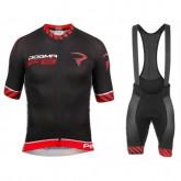 Achat Nouveau Equipement 2017 Tenue Maillot Cyclisme Courte + Cuissard à Bretelles Pinarello Dogma F8 Noir-Rouge