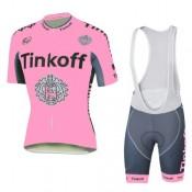 Achat Nouveau Tenue Maillot Cyclisme Courte + Cuissard à Bretelles Tinkoff Rose