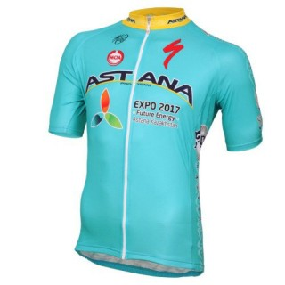 Achat de 2017 Astana Equipe Pro Maillot Cyclisme Manche Courte