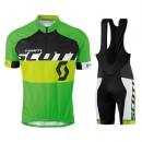 Achat de Tenue Maillot Cyclisme Courte + Cuissard à Bretelles Scott Equipe Noir-vert 2016