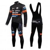 Acheter Equipement 2016 De-Rosa Santini Noir Tenue Maillot Cyclisme Longue + Collant à Bretelles