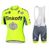 Acheter Equipement 2017 Tenue Maillot Cyclisme Courte + Cuissard à Bretelles Tinkoff Race Equipe