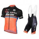 Acheter Nouveau Equipement 2017 Tenue Maillot Cyclisme Courte + Cuissard à Bretelles Equipe DE-ROSA Noir-Orange En Ligne