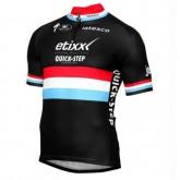 Acheter Nouveau Noir Maillot Cyclisme Manche Courte Etixx-Quick Step Luxembourg Champion 2017 En Ligne