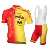 Acheter des Nouveau Equipement 2016 Tenue Maillot Cyclisme Courte + Cuissard à Bretelles Espagne Equipe