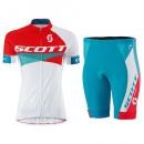 Acheter des Nouveau Tenue Maillot Cyclisme Courte + Cuissard Cycliste Scott RC Rouge-Blanc Femme 2016