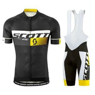 Achetez Equipement 2016 Tenue Maillot Cyclisme Courte + Cuissard à Bretelles Scott RC Pro Noir-Jaune