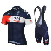 Authentique Equipement 2016 Tenue Maillot Cyclisme Courte + Cuissard à Bretelles Equipe IAM