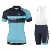 Authentique Tenue Maillot Cyclisme Courte + Cuissard à Bretelles Scott RC Pro Tec Honeycomb Noir-Bleu Femme 2017