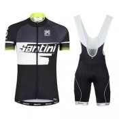 Boutique Equipement 2017 Santini Atom 2.0 Noir-Blanc-vert Tenue Maillot Cyclisme Courte + Cuissard à Bretelles Paris