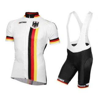 Boutique Equipement 2017 Tenue Maillot Cyclisme Courte + Cuissard à Bretelles Allemagne Equipe Paris