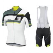 Boutique de Equipement 2017 Spоrtful Gruppetto Blanc-vert Tenue Maillot Cyclisme Courte + Cuissard à Bretelles