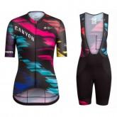 Collection Equipement 2017 Tenue Maillot Cyclisme Courte + Cuissard à Bretelles Equipe Canyon coloré Femme Soldes