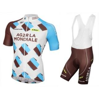 Collection Tenue Maillot Cyclisme Courte + Cuissard à Bretelles 2017 Equipe Ag2r Soldes