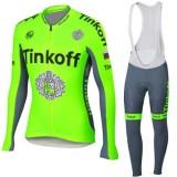 Collection Tenue Maillot Cyclisme Longue + Collant à Bretelles vert TINKOFF Soldes