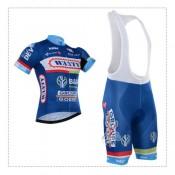 Cube Tenue Maillot Cyclisme Courte + Cuissard à Bretelles Bleu à Petit Prix