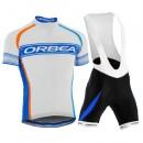 En ligne Equipement 2016 Tenue Maillot Cyclisme Courte + Cuissard à Bretelles Orbea Blanc-Bleu Stripe