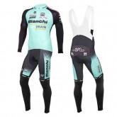 Equipement 2016 Bianchi Active-TX Vert clair Tenue Maillot Cyclisme Longue + Collant à Bretelles Officiel