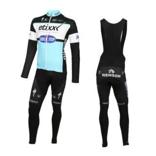 Equipement 2016 Etixx-Quick Step Tenue Maillot Cyclisme Longue + Collant à Bretelles Réduction Prix