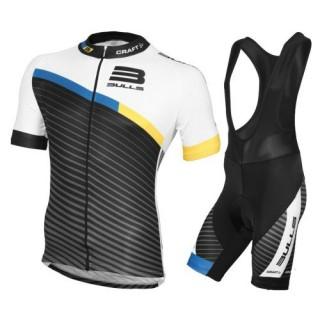 Equipement 2016 Tenue Maillot Cyclisme Courte + Cuissard à Bretelles Equipe Bulls stripe Promos