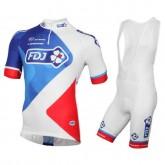 Equipement 2016 Tenue Maillot Cyclisme Courte + Cuissard à Bretelles FDJ Equipe Vendre Alsace