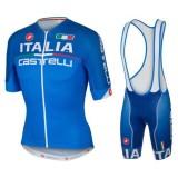 Equipement 2016 Tenue Maillot Cyclisme Courte + Cuissard à Bretelles Italie Skoda Bleu Soldes France