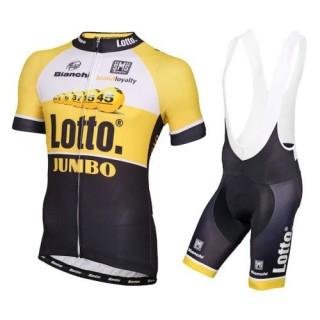 Equipement 2016 Tenue Maillot Cyclisme Courte + Cuissard à Bretelles Lotto NL-Jumbo Jaune Promos Code