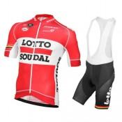 Equipement 2016 Tenue Maillot Cyclisme Courte + Cuissard à Bretelles Lotto Soudal Réduction