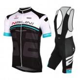 Equipement 2016 Tenue Maillot Cyclisme Courte + Cuissard à Bretelles Nalini Bao Blanc-Bleu-Noir à Petit Prix