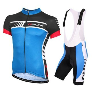 Equipement 2016 Tenue Maillot Cyclisme Courte + Cuissard à Bretelles Nalini Tescio Bleu Europe