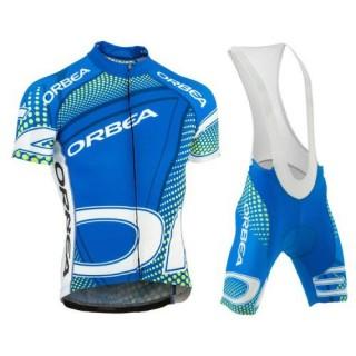 Equipement 2016 Tenue Maillot Cyclisme Courte + Cuissard à Bretelles Orbea Bleu With vert Dot Pas Cher Provence
