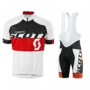 Equipement 2016 Tenue Maillot Cyclisme Courte + Cuissard à Bretelles Scott Equipe Blanc-Noir-Rouge Vendre Cannes