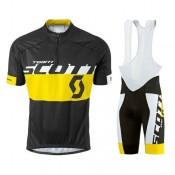 Equipement 2016 Tenue Maillot Cyclisme Courte + Cuissard à Bretelles Scott Equipe Noir-Jaune Remise Nice