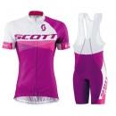Equipement 2016 Tenue Maillot Cyclisme Courte + Cuissard à Bretelles Scott RC Blanc-violet Femme à Vendre