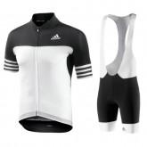 Equipement 2017 Aero Homme Noir-Blanc Tenue Maillot Cyclisme Courte + Cuissard à Bretelles Vente En Ligne