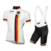 Equipement 2017 Allemagne Equipe Tenue Maillot Cyclisme Courte + Cuissard à Bretelles Vendre France