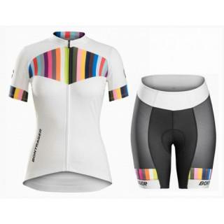 Equipement 2017 Bontrager Anara Femme Blanc et Color Stripes Tenue Maillot Cyclisme Courte + Cuissard Cycliste Remise prix