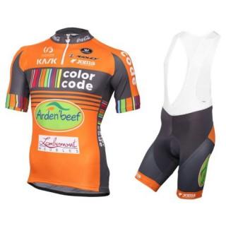 Equipement 2017 Color-Code Aquality Orange Protect Tenue Maillot Cyclisme Courte + Cuissard à Bretelles Rabais prix