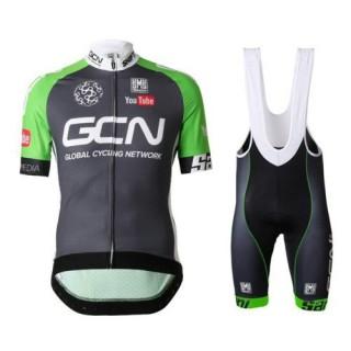 Equipement 2017 Equipe GCN Noir et vert Tenue Maillot Cyclisme Courte + Cuissard à Bretelles Pas Cher Marseille